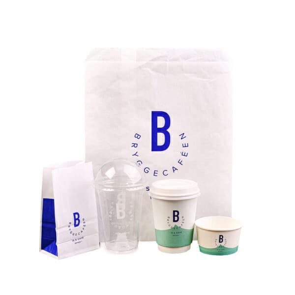 Småposer i papir med logo | Take Away Emballasje | SKG - Spesialister innen profilert emballasje