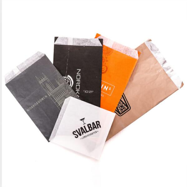 Småposer i papir med trykk | Take Away | SKG - Spesialister innen profilert emballasje