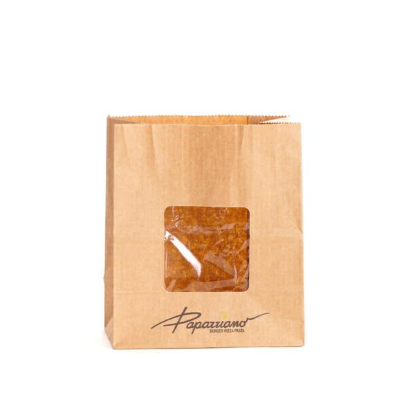Småpose i papir med trykk med firkantet bunn, sidefall og vindu | Take Away | SKG - Spesialister innen profilert emballasje