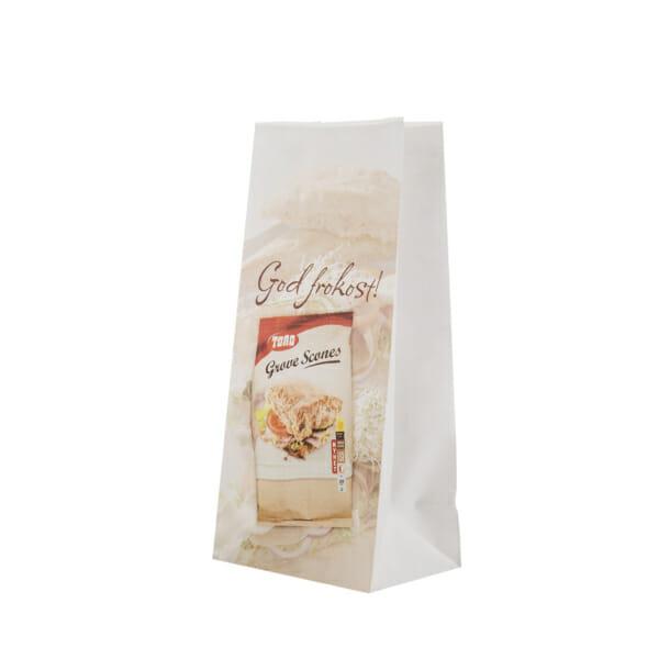 Småpose i papir med trykk med firkantet bunn og sidefall | Take Away | SKG - Spesialister innen profilert emballasje