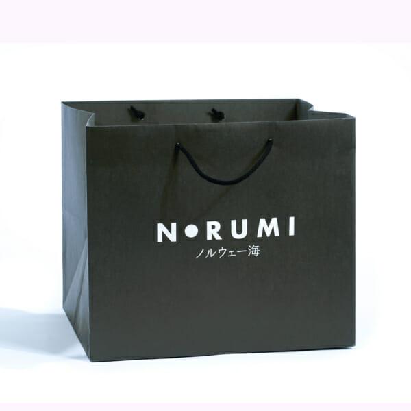 Eksklusiv papirpose med Trykk   Bred bunn til sushi   Take away   SKG - Spesialister innen profilert emballasje