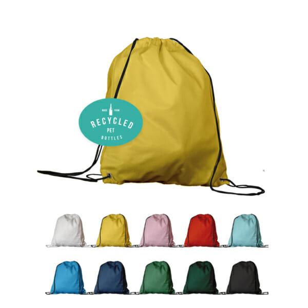 Gymbag med snøring med trykk i resirkulert PET | Handlenett | SKG - Spesialister innen profilert emballasje