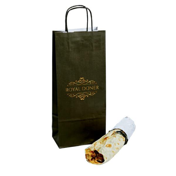 Papirposer og wrappapir med logo til rullekebab | Take Away | SKG - Spesialister innen profilert emballasje