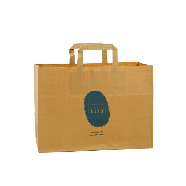 Take away poser i papir med logo   Poser   SKG - Spesialister innen profilert emballasje