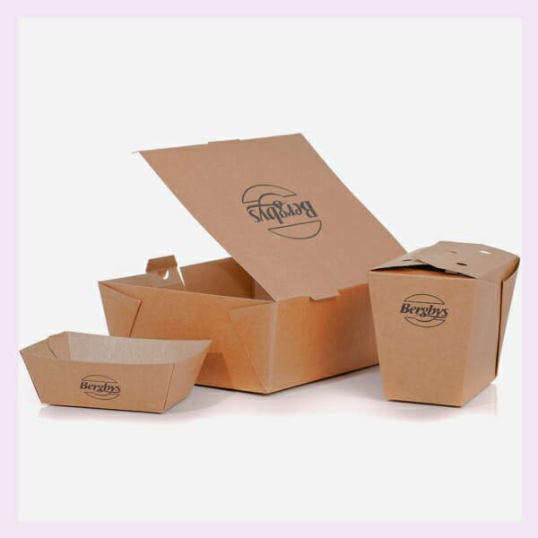 Take Away middag, pasta eske og skål med trykk | SKG - Spsialister innen profilert emballasje