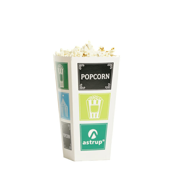 Popcorn i pappbeger med trykk | Logokopp | SKG - Spesialister innen profilert emballasje