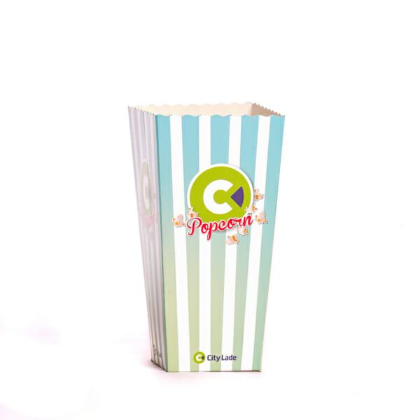 Popcorn i pappbeger med trykk | Take Away | SKG - Spesialister innen profilert emballasje