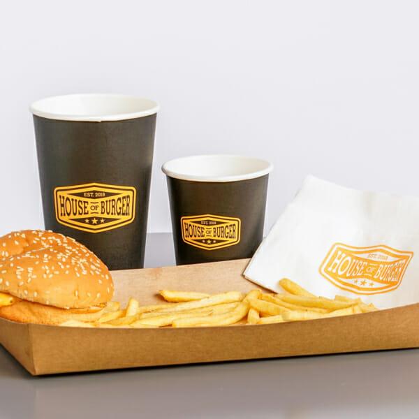 Spisebrett, kopper og servietter med trykk   Take Away   SKG - Spesialister innen profilert emballasje