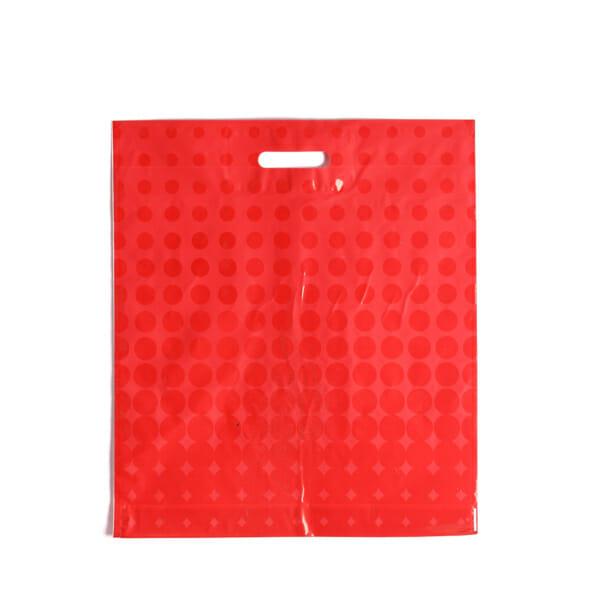 Plastposer rød med sirkler 45x50 cm | Uten trykk | SKG - Spesialister innen profilert emballasje