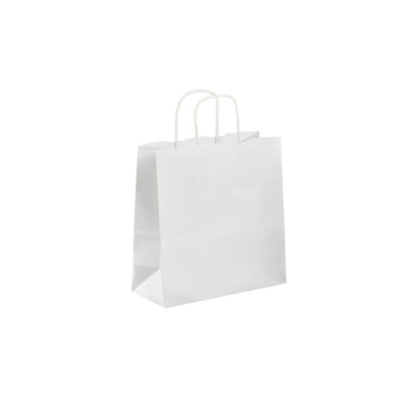 Papirpose uten logo i hvit kraft   Nettbutikk   Kort levering på 2-3 dager fra lager   SKG - Spesialister innen profilert emballasje