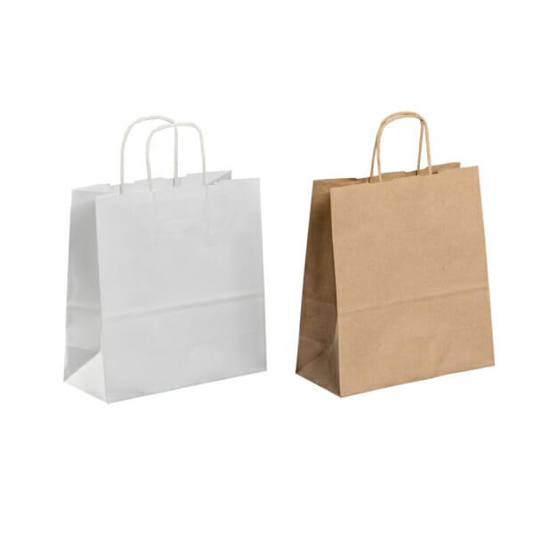 Papirpose uten logo i hvit og brun kraft | Nettbutikk | Kort levering på 2-3 dager fra lager | SKG - Spesialister innen profilert emballasje