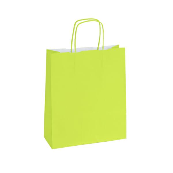 Papirposer lime grønn 26x11x34cm | Lagervarer uten logo | SKG - Spesialister innen profilert emballasje
