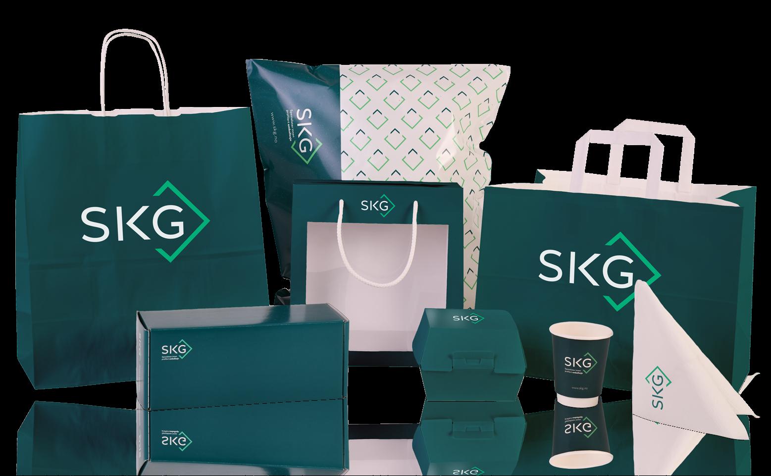 Poser, esker, kopper og Take Away emballasje med logo | SKG - Spesialister innen profilert emballasje