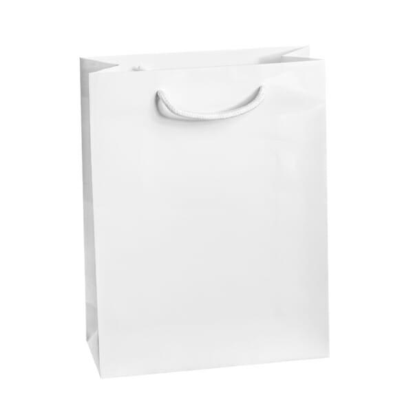 Eksklusiv papirpose hvit blank uten logo   Nettbutikk   Kort levering på 2-3 dager fra lager