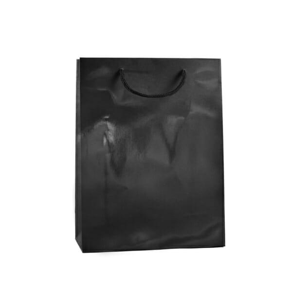 Eksklusiv papirpose sort blank uten logo | Nettbutikk | Kort levering på 2-3 dager fra lager