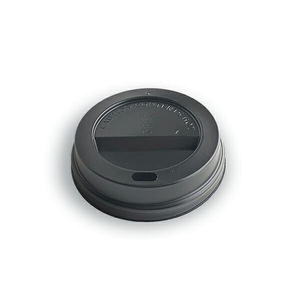 Kaffelokk med drikkehull i sort plast 80 mm | Nettbutikk fra lager | SKG - Spesialister innen profilert emballasje
