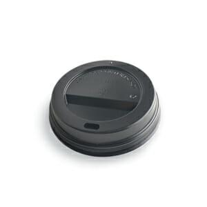 Kaffelokk med drikkehull i sort plast 90 mm | Nettbutikk fra lager | SKG - Spesialister innen profilert emballasje