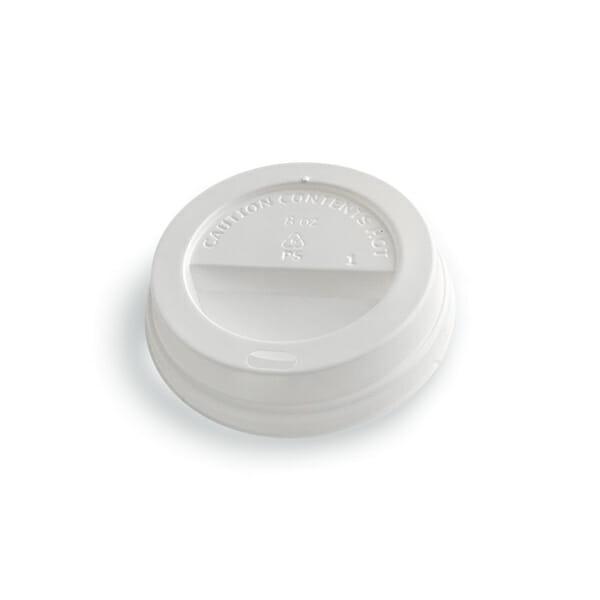 Kaffelokk med drikkehull i hvit plast 80 mm | Nettbutikk fra lager | SKG - Spesialister innen profilert emballasje
