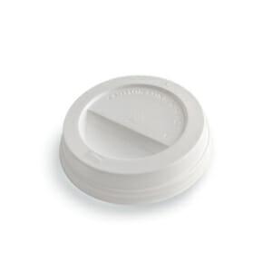 Kaffelokk med drikkehull i hvit plast 90 mm | Nettbutikk fra lager | SKG - Spesialister innen profilert emballasje
