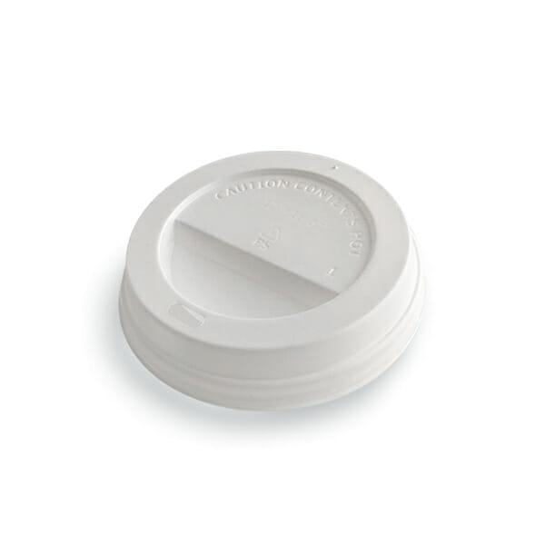 Kaffelokk med drikkehull i hvit plast 90 mm   Nettbutikk fra lager   SKG - Spesialister innen profilert emballasje